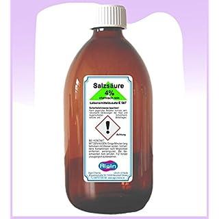 Algin Salzsäure 4% chemisch Rein 500ml Glasflasche - Lebensmittelzusatz E 507