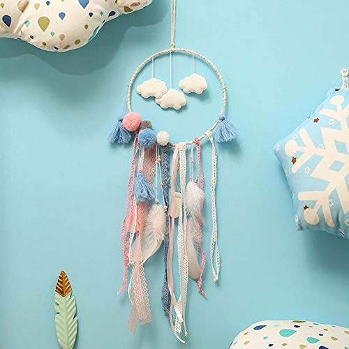 JTY Dream Catcher Nuage Blanco Tradicional atrapasueños con Tapiz de Pared para niños, decoración de Pared, decoración de vivero, decoración Artesanal, Regalo
