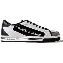 Dolce   Gabbana Sneaker Roma in Tela spalmata e Pelle Bianco e Nero CS1589  AN405 HWI67 b8ed73a3357