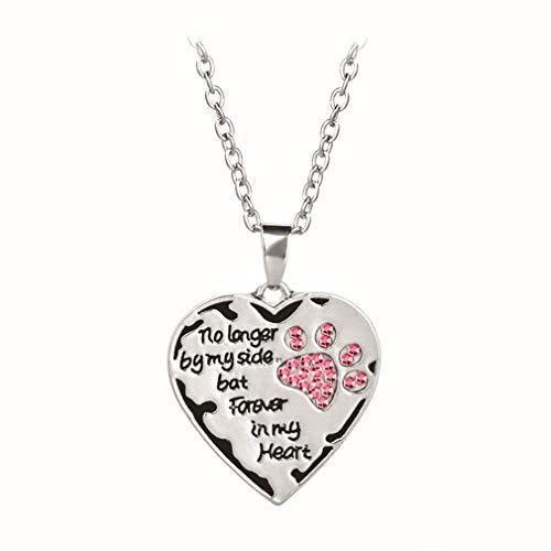 HYhy Pet Paw Halskette Liebe Herzform Anhänger Lange Halskette Schriftzüge Memorial Hund Katze Halskette, Pink