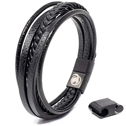 STEINBOCK7 Männer Lederarmband mit Magnetverschluss - Armband aus Leder in Geschenkbox (Schwarz)