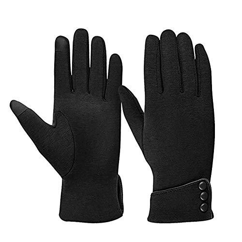 GLOUPER Damen Handschuhe Winterhandschuhe Fahrradhandschuhe Damen Touchscreen Handschuhe Warme Winter Handschuhe mit Fleecefutter (schwarz)