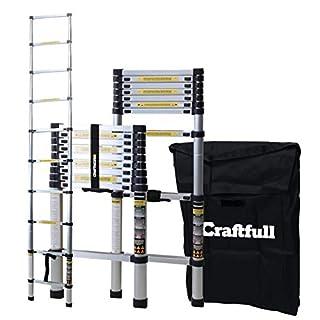 Craftfull Aluminum SOFT CLOSE Teleskopleiter inkl. Tragetasche - in 2/2,6/2,9/3,2/3,8/4,1/4,4 Meter - Mehrzweckleiter - Stehleiter - Aluminiumleiter - Leiter - Schiebeleiter - Aluleiter (2.6 Meter)