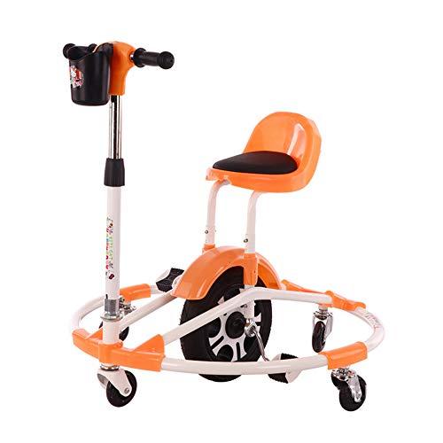 LMJ-Kart Scooter Walker 2-8 cassaforte per Bambini Bilancino per Bambini Telaio Rotondo 4 Giri 360 Gradi per Evitare Cadute Laterali,Orange