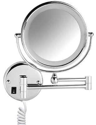 VELMA - SWITCH AROUND - LED208 5x - Zweiseitig beleuchteter LED Kosmetikspiegel - 5-Fach Vergrößerung + Normalgröße - In alle Richtungen verstellbar - Hochglanz verchromtes Messing - Kein Plastik - Lässt sich vollständig an die Wand klappen - Hochwe