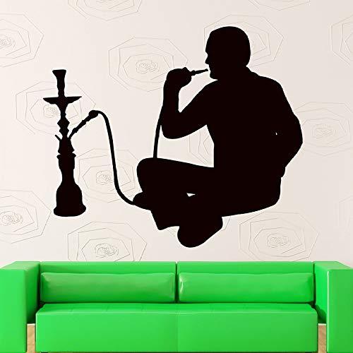 guijiumai Wandaufkleber Shisha Rauchen Arabisch Cafe Decor Shisha Vinyl Aufkleber Wand Fensteraufkleber Lounge Aufkleber Dekoration rot 93x85 cm