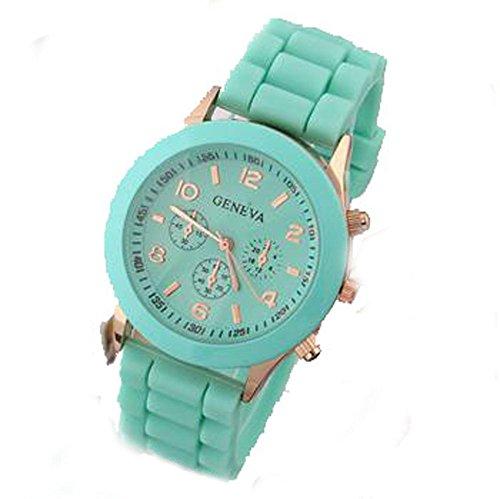 Demarkt Retro Reloj de Pulsra de la Silicona Multicolores para Mujer Color Verde