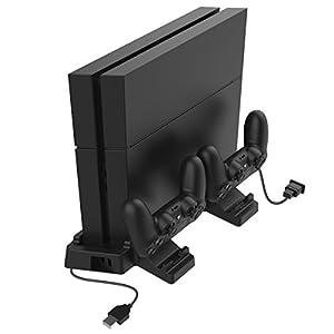 GameSir Vertikaler Ständer für PS4 Pro/Slim, Playstation 4 Controller Ladestation mit 2 Lüftern und 2 USB-Ports