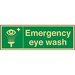 """vsafety 23022bj-g """"lavaojos de emergencia"""" condiciones de seguridad general señal, brillan en la oscuridad, 1mm, plástico, paisaje, 450mm x 150mm), color verde"""
