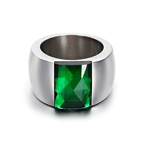 Bishilin Creato Verde Cubi Zirconio con Austrian Cristallo Donna | Uomo Anello Fidanzamento Misura 17