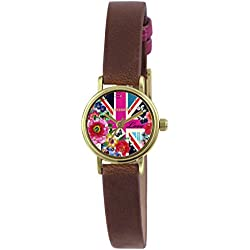 Accessorize Women's Quartz Watch with Multicolour Dial Analogue Display and Brown PU Strap AZ2015
