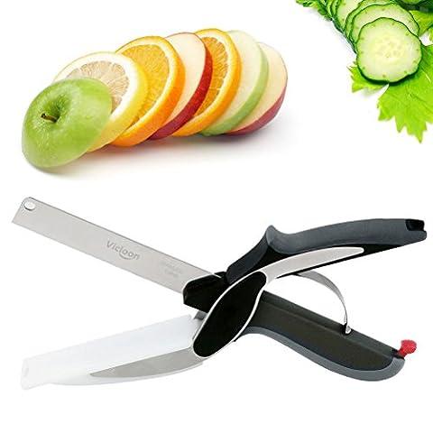 Vicloon Clever Cutter,2 en 1 chopper cutter & Multifonction cuisine Aliments Ciseaux remplacez vos couteaux de cuisine et planche à Découper - Noir