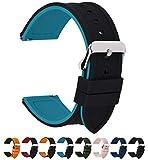 Fullmosa 10 Colori per Cinturino 18mm 20mm 22mm 24mm in Silicone a sgancio rapido, Cinturino in caucciù con Fibbia in Acciaio Inossidabile,per Uomo e Donna,18mm Nero Superiore/Blu Inferiore