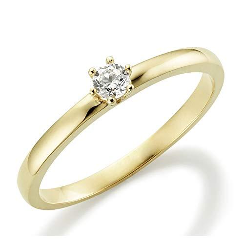Verlobungsring Weißgold 6 Krappen Ehering Engagement Ring Antragsring Neu in 585 und in 333 375 Ehering Verlobung Gold Brillant Schliff Zirkonia Günstig Diamant (9 Karat (375) Gelbgold, 49 (15.6))