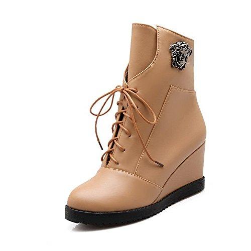 AgooLar Damen Rund Zehe Hoher Absatz Weiches Material Niedrig-Spitze Rein Stiefel Aprikosen Farbe