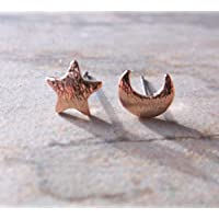 Rose Gold Plated Small Moon and Star Stud Earrings, Gifts for Her