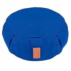 Coussin de yoga »Brahman« avec fermeture éclair & vannure d'épeautre biologique (culture biologique contrôlée) / Tailles: 42 x 15 cm - idéal comme coussin de yoga / coussin de méditation / coussin zafu / support de méditation / excellent confort d'assise / Matière : 100% coton - bleu marine