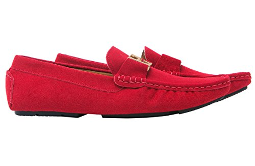 Santimon Herren Schuhe Hausschuhe Slipper Mokassins Casual Business Leder Bummler Fahren Gold Buckle Rot