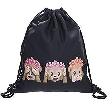 ocona© borsa sportiva fiori Emoji Monkeyflowers scimmie estivi emoticon smiley sport borsa zaino borsa tracolla Gymsack Stringbag Hipster scimmia, il nero