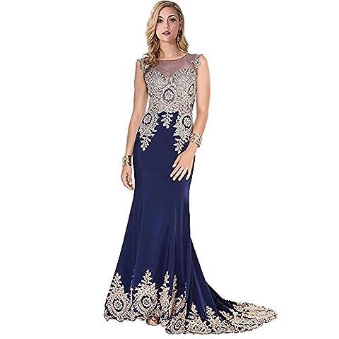 Dresses Women Chiffon Lace Evening Wedding Bridal Bridesmaids Party Birthday Banquet Long Net Yarn Dress . Deep Blue . Us16