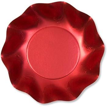 Scodella Piatto Rosso Satinato 10 Pz Cartoncino