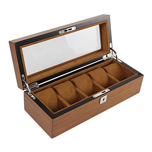 XXHSS Vintage und zarte Holz 5 Uhrenbox Schmuck Fall und 3 Stück Brillen Lagerung und Sonnenbrille Brille Vitrine Organizer