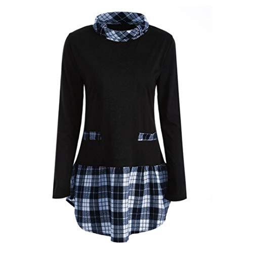 TEBAISE Damen Große Größen Freizeit Lange Ärmel Rundhalsausschnitt Bluse Locker Shirt Elegante Frauen Tunika Tops Oberteile ()