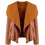 LEEDY Damen Einfarbig Revers Wintermantel Offene Mantel Warm Daunenjacke mit Taschen Outwear Winterjacke Trenchcoat