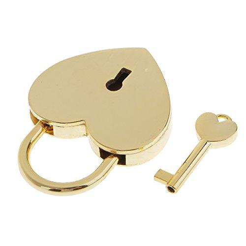 Schmuck-lock-box (sharplace Jahrgang Vorhängeschloss Herz mit Schlüssel Kleine Mestieri Koffer Lock Set CODE Heft für Boxen Schmuck Reise Zubehör)