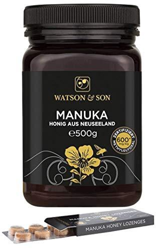 Watson & Son Manuka Honig MGO 600+ 500g + gratis Manuka Lutschtabletten 20g MGO 400+ | Zertifizierte Premium Qualität aus Neuseeland | Lozenges Lutschbonbons