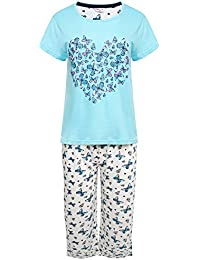 Womens 100% Cotton Jersey Short Sleeved Cropped Leg Butterfly Design Pyjamas e0e6ae92a