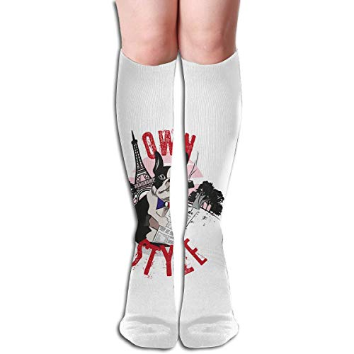 BetterShopDay Bulldog Own Style Design Elastic Blend Long Socks Compression Knee...