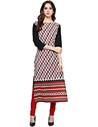 Ziyaa Women's Multicoloured Boat Neck With 3/4 Sleeve Crepe Digital Print Straight Kurta (ZIKUCR441)