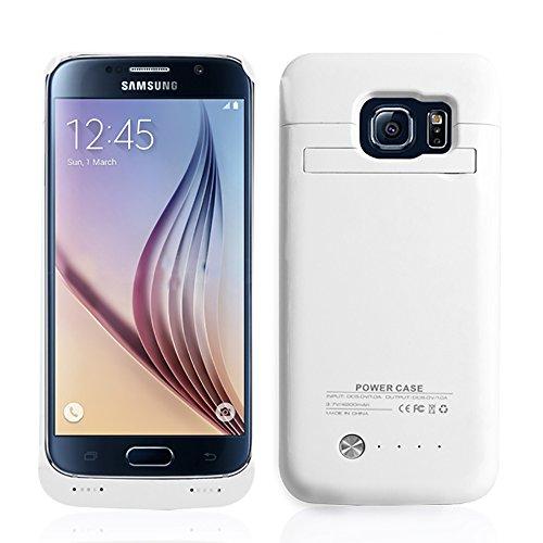 SAVFY Custodia Cover Protettiva con Batteria Esterna per Samsung Galaxy S6, Cover batteria da 4200mAh, Power Bank con batteria integrata, Backup Battery Charger Case Bianco