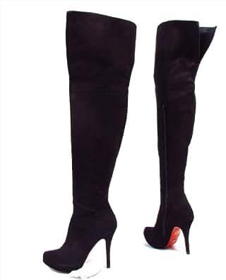 buffalo extreme damen high heels overknee stiefel wildleder schwarz eur 40. Black Bedroom Furniture Sets. Home Design Ideas