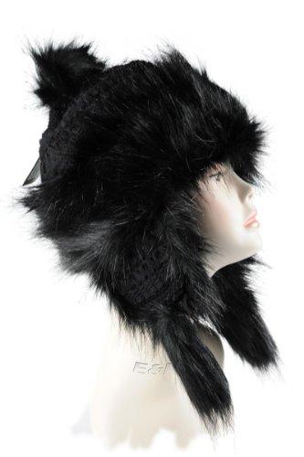 Wool & Faux Fox Fur Winter Mongolian Hat Ushanka Trapper Russian Style