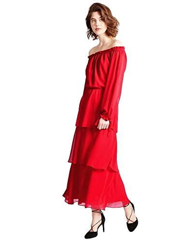 new-marks-spencer-per-una-cold-shoulder-maxi-dress-uk-size-12-24-red