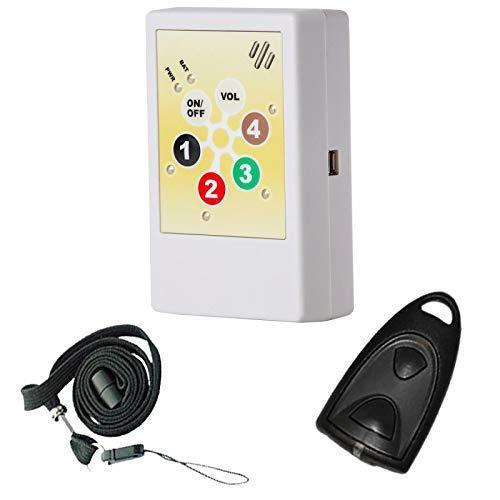 HelpLine2.0: Portables Hausnotrufgerät mit Funk-Notruf-Halsband, Mobiler-Pflege-Alarm für zuhause und unterwegs, Pflegeruf-Set, tragbares Notrufsystem mit angenehmen Ruftonmelodien -