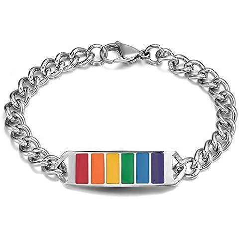 Vnox Cuban Link id Wristband di braccialetti arcobaleno 13 millimetri Gay Lesbiche LGBT in acciaio inossidabile Orgoglio,21 centimetri di lunghezza