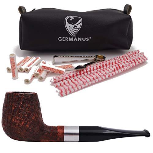 GERMANUS Pfeife Set, Billiard 153 - Made in Italy - gerade Sand im Set mit Pfeifentasche, Pfeifenbesteck, Pfeifenreiniger, Filter
