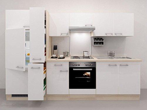 Küchenzeile 300 cm Weiß Akazie mit Geräten und Apothekerschrank – Ancona
