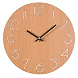 PINCHU 30Cm Simple Round Wall Clock Brief Country Style Bedroom Living Room Mute Clocks Home Wall Decor - Black Brown,Brown,12Inch