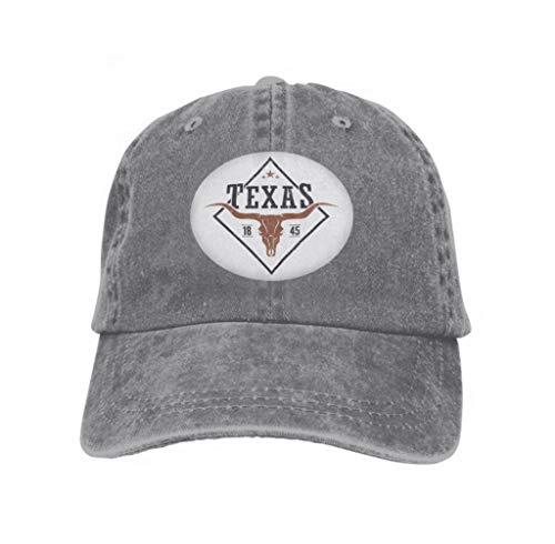 Baseball Caps Cowboy Hats Sun Hats Texas State Print Longhorn Skull Design Stamp Label typograp Gray