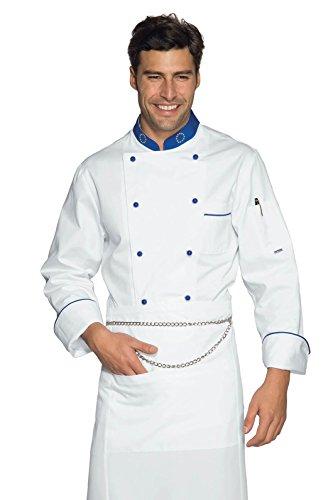 Isacco - Veste Chef Cuisinier Eurochef Blanc Bleu Cyan Blanc