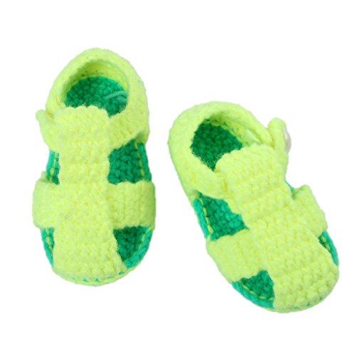 Smile YKK One Size 1 Paar Baby Unisex süße Muster Strickschuh Strick Schuh 11cm Knopf Deko Hellgrün Hellgrün