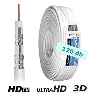 10 m Koax Kabel 4-fach geschirmt; 120 dB; für Sat und Kabel TV; für einen störungsfreien HD, UltraHD und 3D - Empfang [Koaxial Kabel, Antennenkabel, Sat Kabel, TV Kabel]