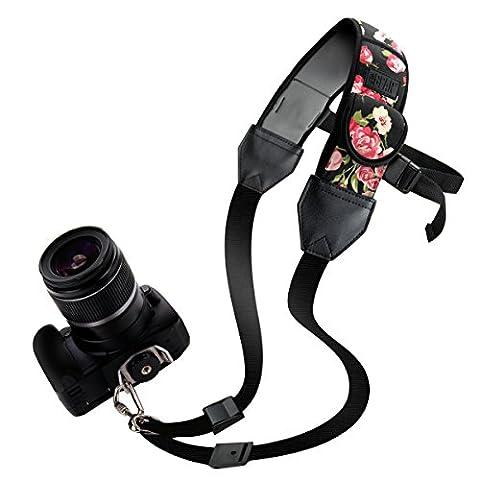 Neopren Nacken Kameragurt für Spiegelreflexkamera / Schultertragegurt für DSLR Kameras wie Canon EOS 750D 80D 1200D 6D 1300D Nikon D3300 D7200 D5500 D500 D750 D3400 Pentax Leica usw. von USA