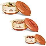 Milton Buffet Insulated Steel Casseroles, Junior Gift Set, 3 Pieces, Brown
