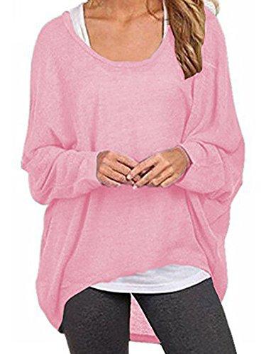 Elevesee Damen Lose Asymmetrisch Jumper Sweatshirt Pullover Bluse Oberteile Oversize Tops (44, Rosa)