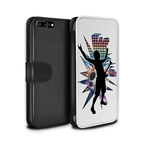 Stuff4 Coque/Etui/Housse Cuir PU Case/Cover pour Apple iPhone 8 Plus / Rock Dame Noir Design / Rock Star Pose Collection Rock n Roll Blanc